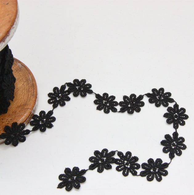 Polyester Guipure Lace 24mm - Daisy Black