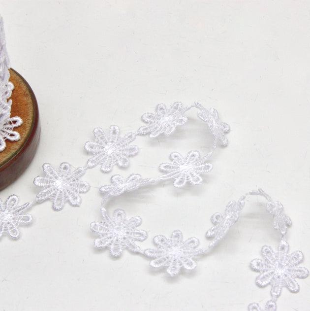Polyester Guipure Lace 24mm - Daisy White