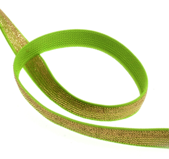 Lurex Elastic 12mm - Neon Green/Gold