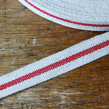 Linen Ribbon - Mid Stripe Red 12mm