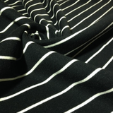 Organic Cotton Fleece - Black With White Stripes