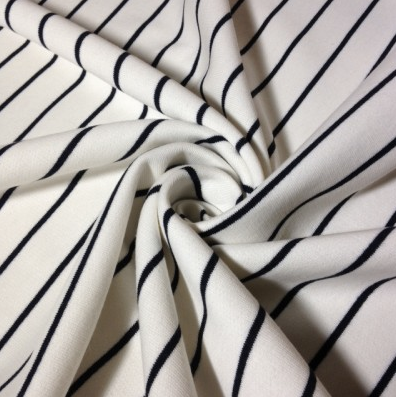 Organic Cotton Fleece - White With Black Stripes