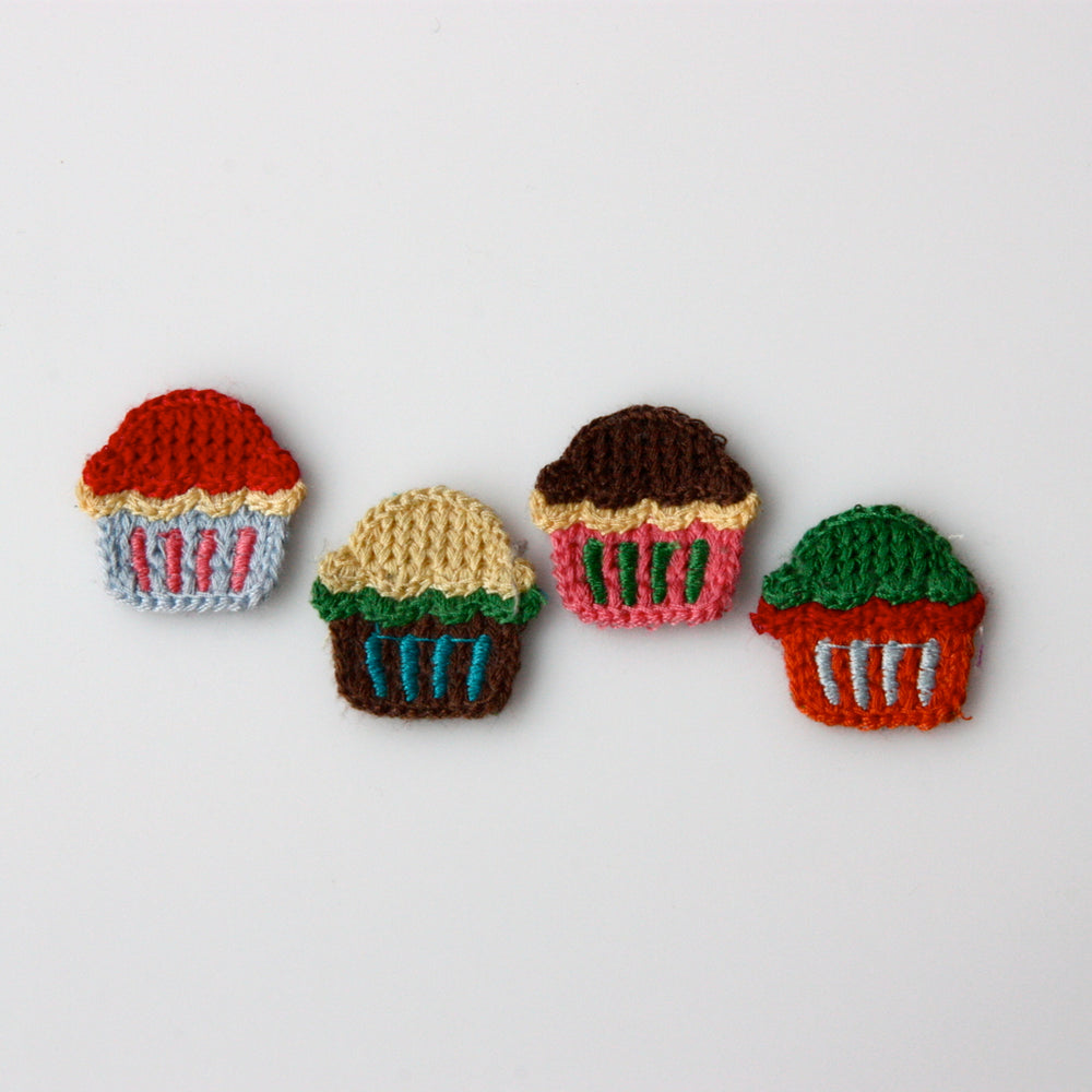 Crochet Patch - Cupcakes x 4