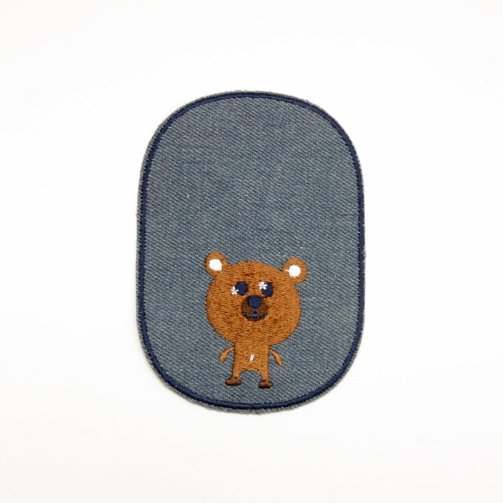 Iron-on Children's Patches - Brown Bear Light Denim