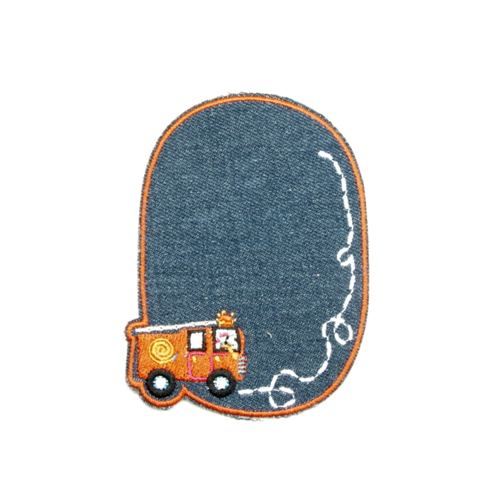 Iron-on Children's Patches - Fire Truck Light Denim