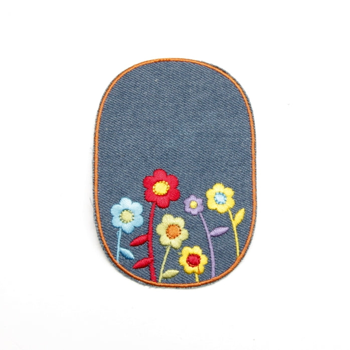 Iron-on Children's Patches - Flowers Light Denim