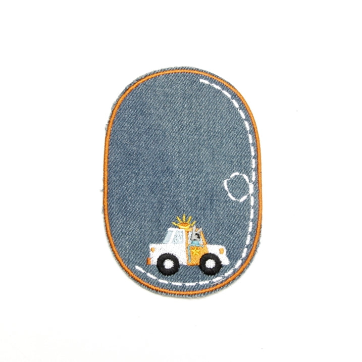 Iron-on Children's Patches - Police Car Light Denim