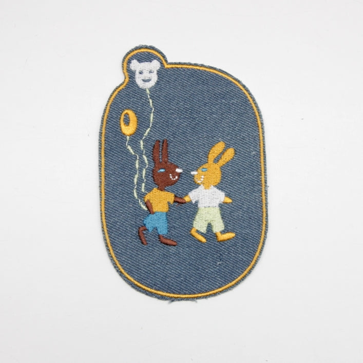Iron-on Children's Patches - Rabbit Friends Light Denim