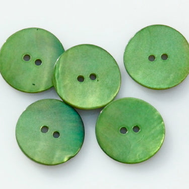 Coloured Shell Buttons - Pea Green