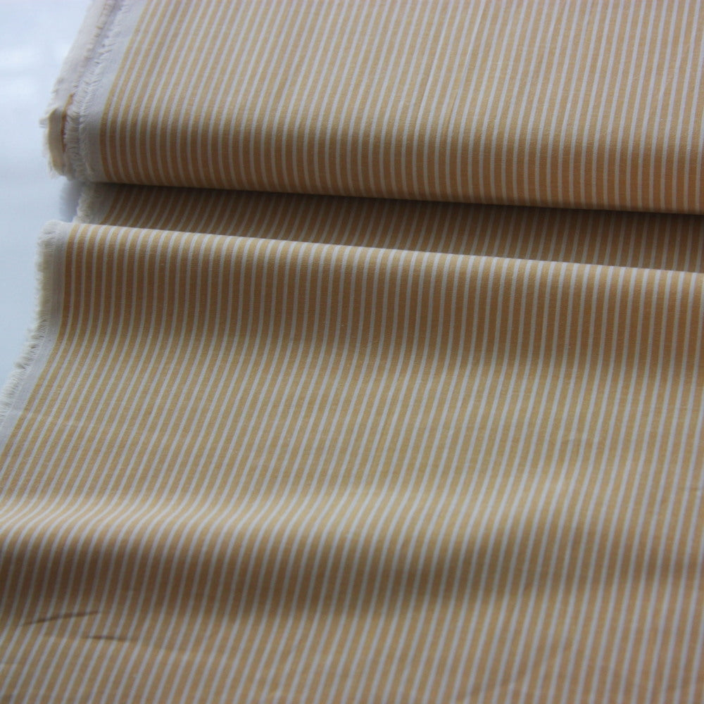 Japanese Cotton Shirting - Pin Stripe Mustard