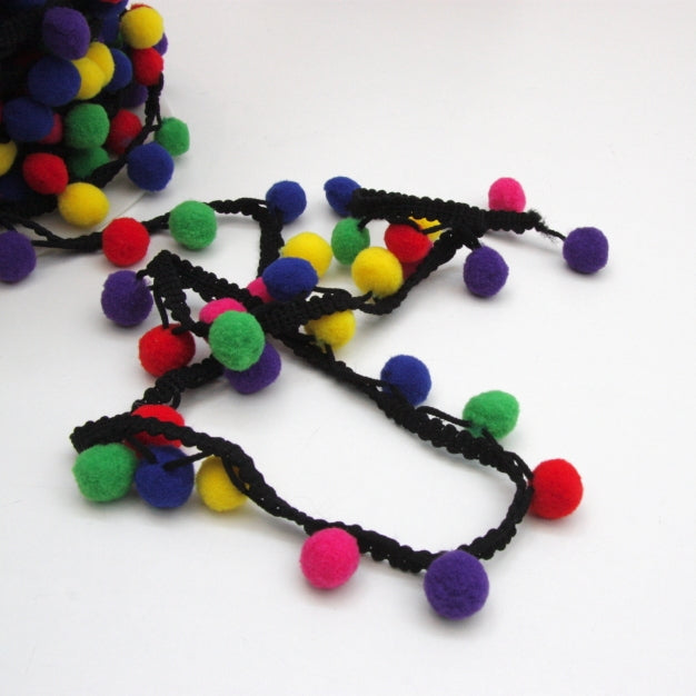 Pom Pom Edging - Multi Rainbow