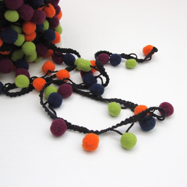 Pom Pom Edging - Multi Autumn