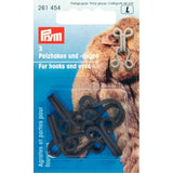 Prym 261454 - Fur Hooks and Eyes - Brown