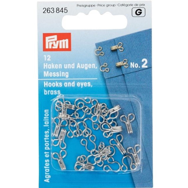 Prym 263845 - Hooks and Eyes - Silver Size 2