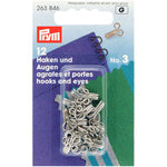 Prym 263846 - Hooks and Eyes - Silver Size 3