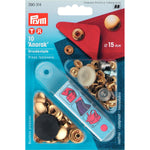 Prym 390314 - Anorak Press Fasteners - Gold 15mm