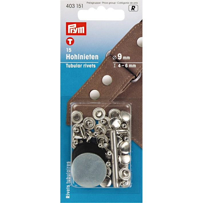 Prym 403151 - Tubular Rivets - Silver 9mm