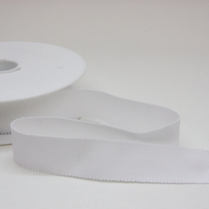 Cotton Grosgrain Ribbon 25mm - White