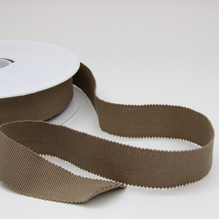 Cotton Grosgrain Ribbon 25mm - Beige