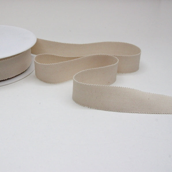Cotton Grosgrain Ribbon 25mm - Cream
