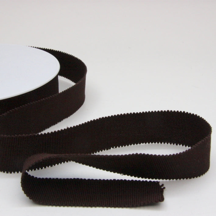 Cotton Grosgrain Ribbon 25mm - Chocolate