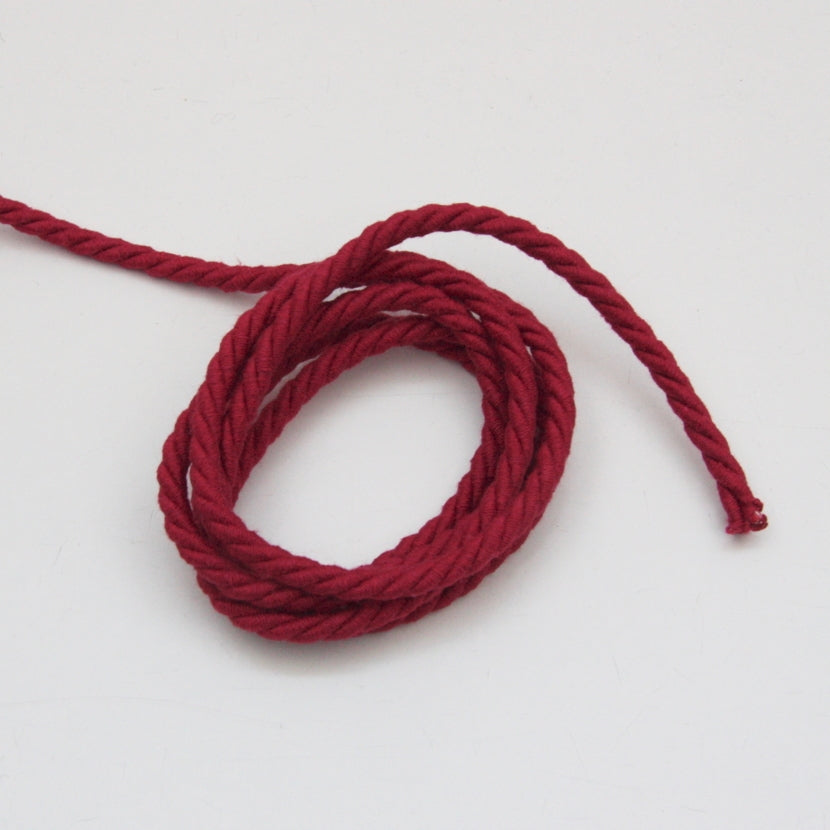 Twisted Cotton Cord 5mm - Cherry Red