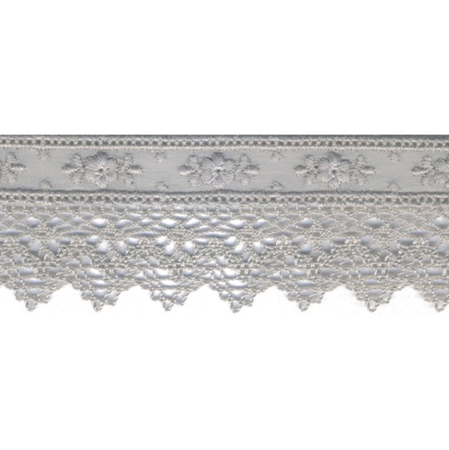 Embroidered Lace Trim 40mm - Floral Warm Grey