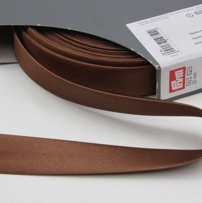 Prym Satin Bias Binding 20mm - 623 Medium Brown