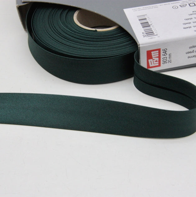 Prym Satin Bias Binding 20mm - 646 Fir Green