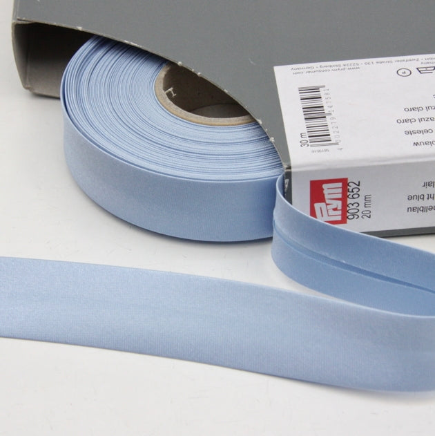 Prym Satin Bias Binding 20mm - 652 Light Blue