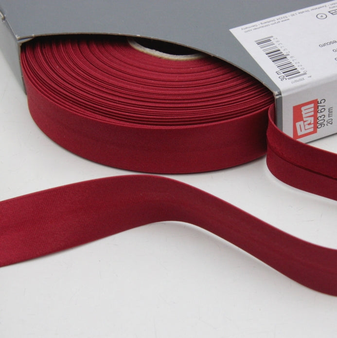 Prym Satin Bias Binding 20mm - 675 Dark Red