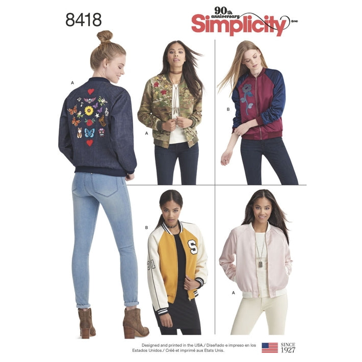 Simplicity 8418 - Zip-Up Bomber Jacket