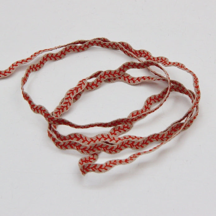 Embroidered Ric Rac 6mm - Coral/Natural