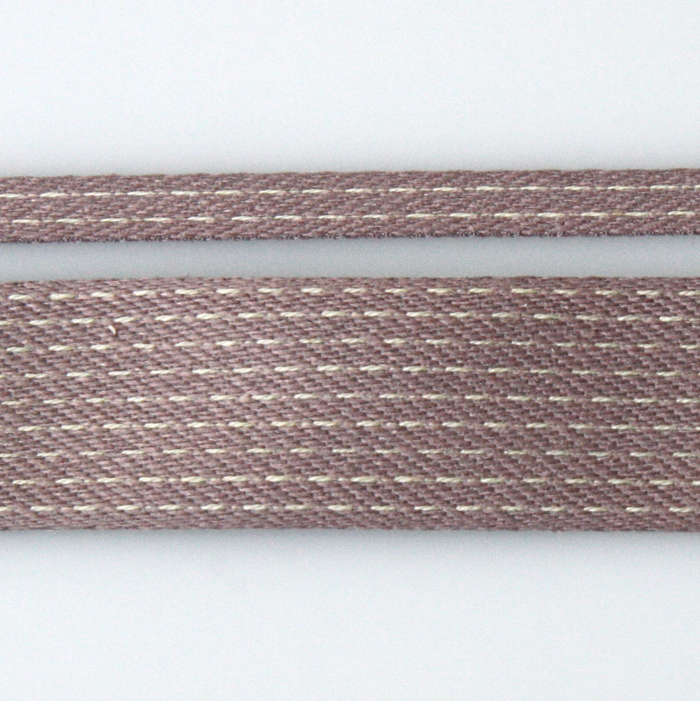 Stitched Cotton Tape - Mauve/Natural
