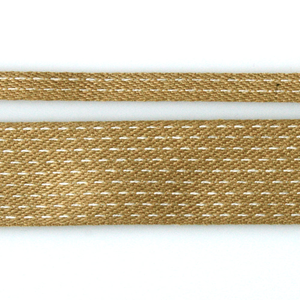 Stitched Cotton Tape - Mustard/Natural