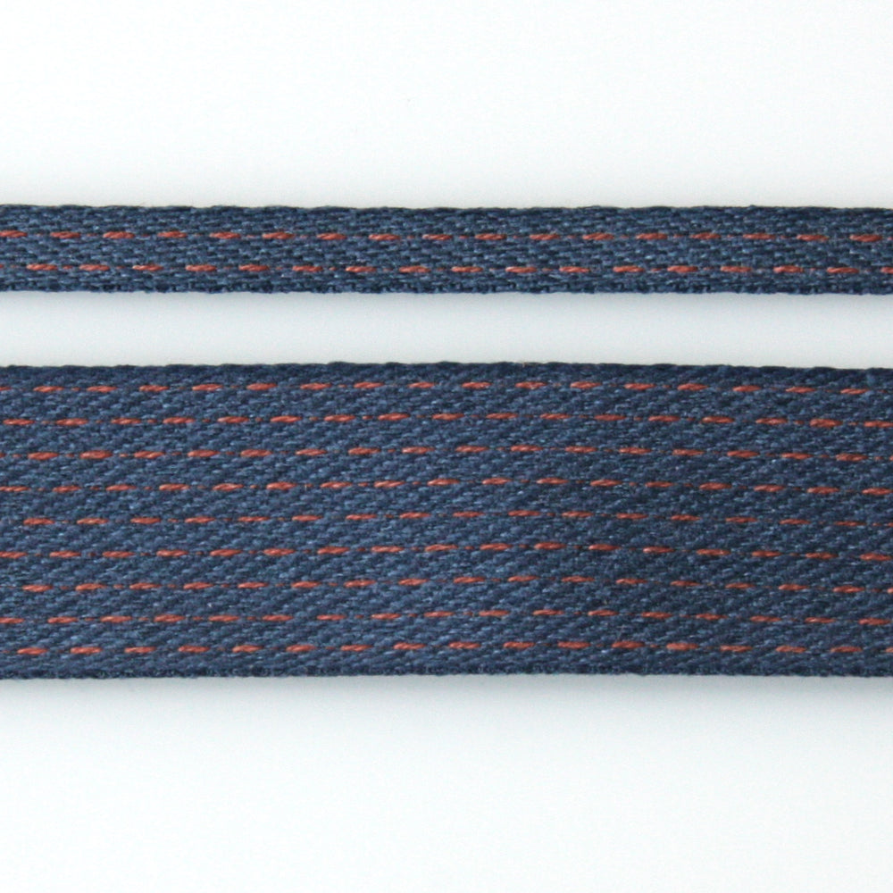 Stitched Cotton Tape - Navy/Red