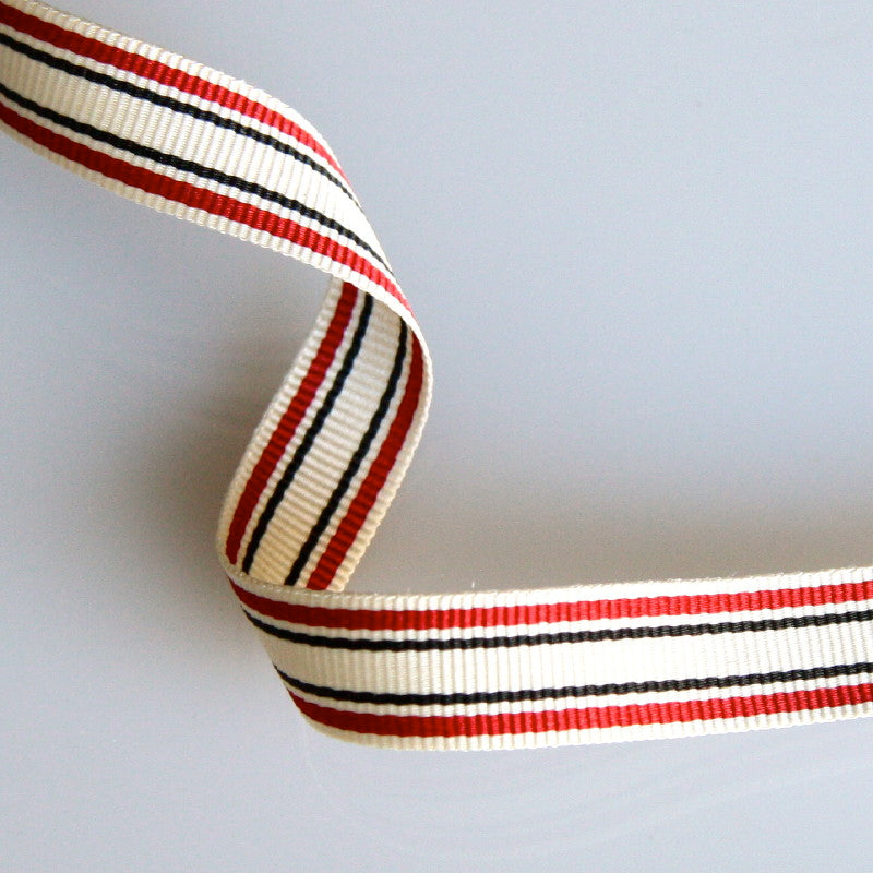 Striped Grosgrain Ribbon 10mm - Crimson