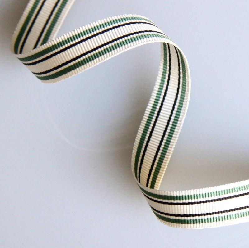 Striped Grosgrain Ribbon 10mm - Green