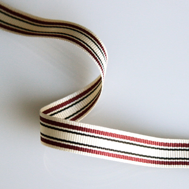 Striped Grosgrain Ribbon 10mm - Wine