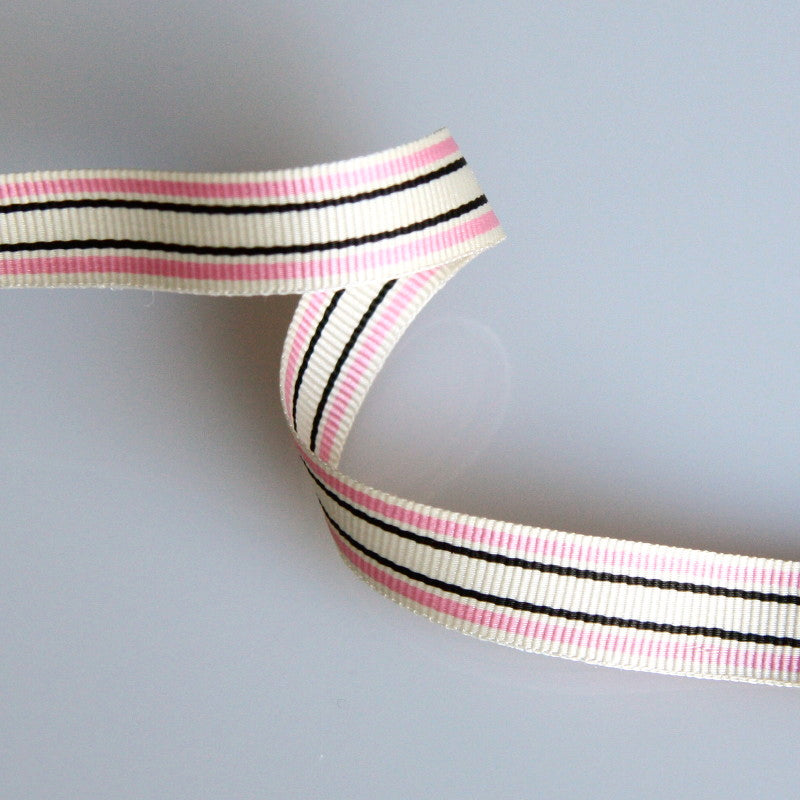 Striped Grosgrain Ribbon 10mm - Pale Pink