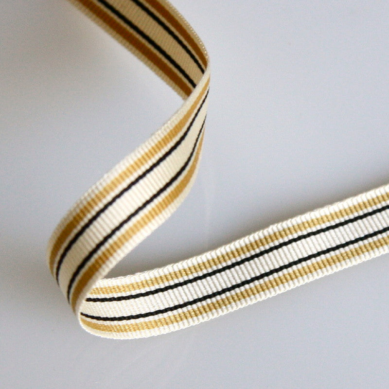 Striped Grosgrain Ribbon 10mm - Gold