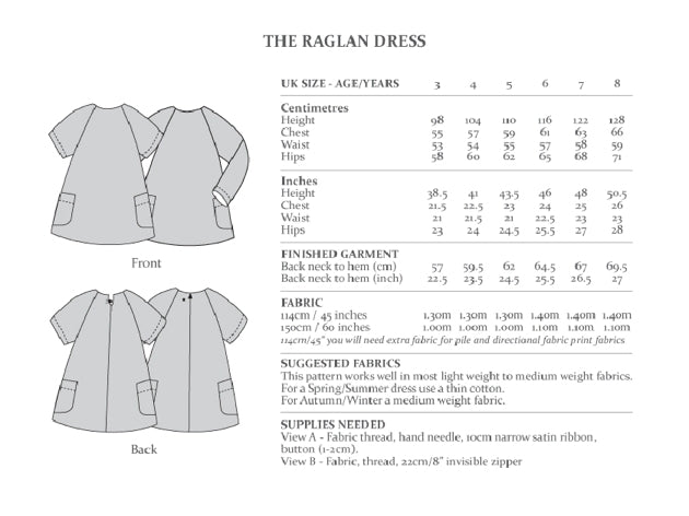 Avid Seamstress Girl's - Raglan Dress