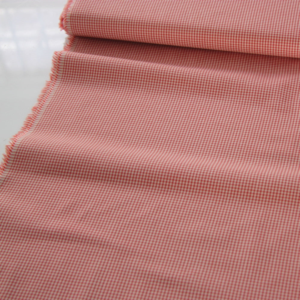 Japanese Cotton Shirting - Tiny Gingham Coral