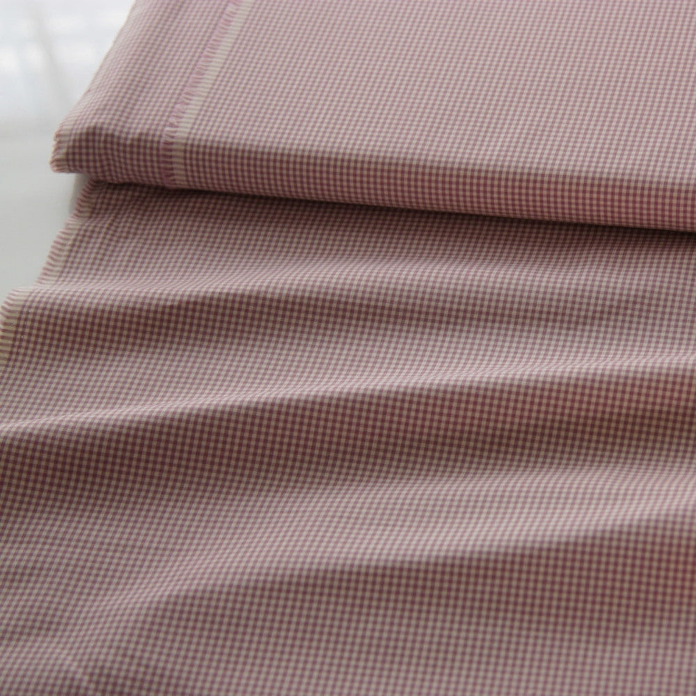 Japanese Cotton Shirting - Tiny Gingham Lilac