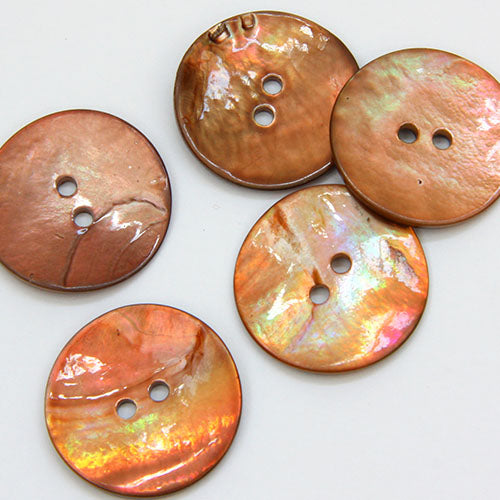Coloured Shell Buttons - Toffee