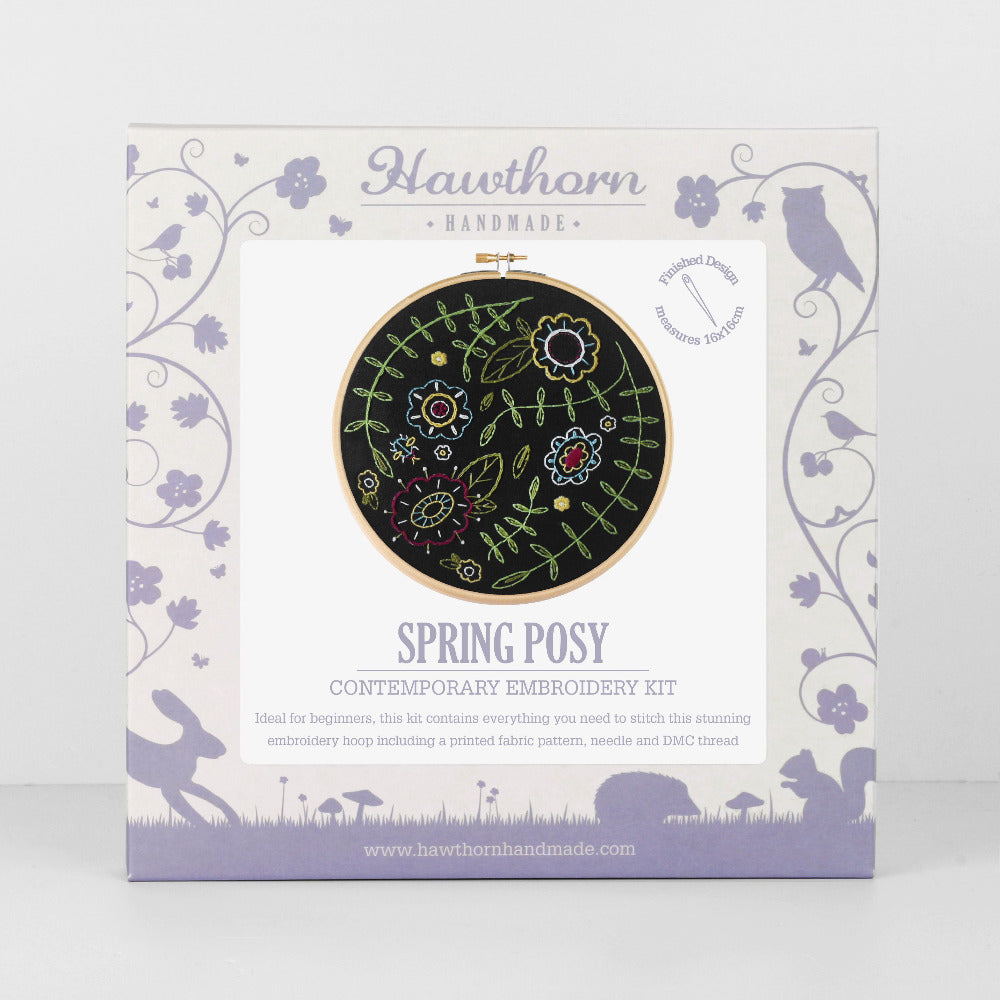 Contemporary Embroidery Kit - Black Spring Posy