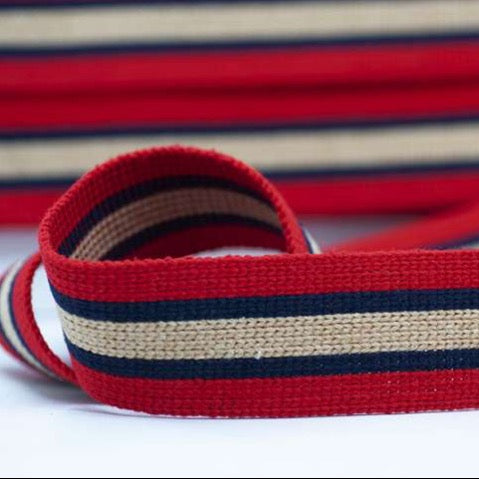 Striped Webbing 40mm - Red/Navy/Beige