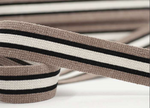 Striped Webbing 40mm - Brown/Black/Ecru