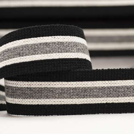 Striped Webbing 40mm - Black/Ecru/Grey