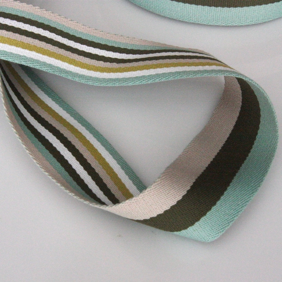 Reversible Striped Webbing 40mm - Green/Grey